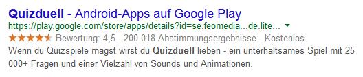 """Snippet für eine Google-Suchanfrage zum Thema """"Quizduell"""" auf einem Smartphone"""