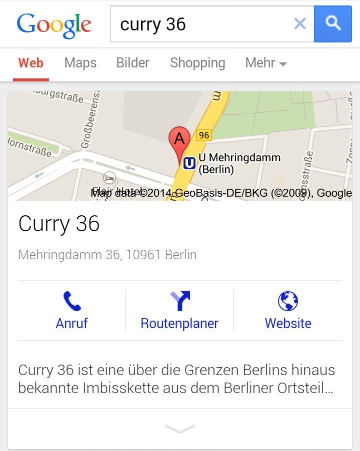 """Google-Places-Eintrag für die Suchanfrage """"Curry36"""" im mobilen Browser"""