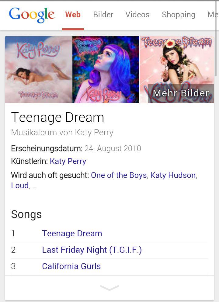 "Google-Knowledge-Graph Screenshot zu ""Katy Perry Teenage Dream"" auf dem  mobilen Chrome"