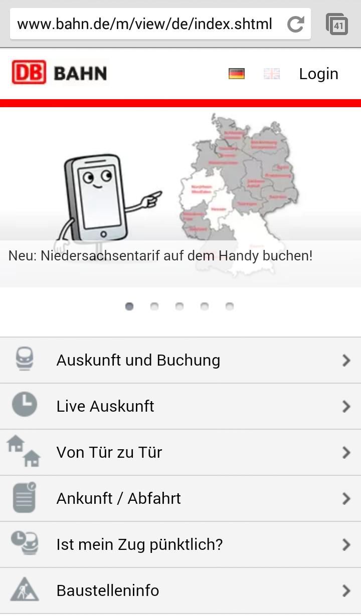 Screenshot der mobilen Website der Deutschen Bahn