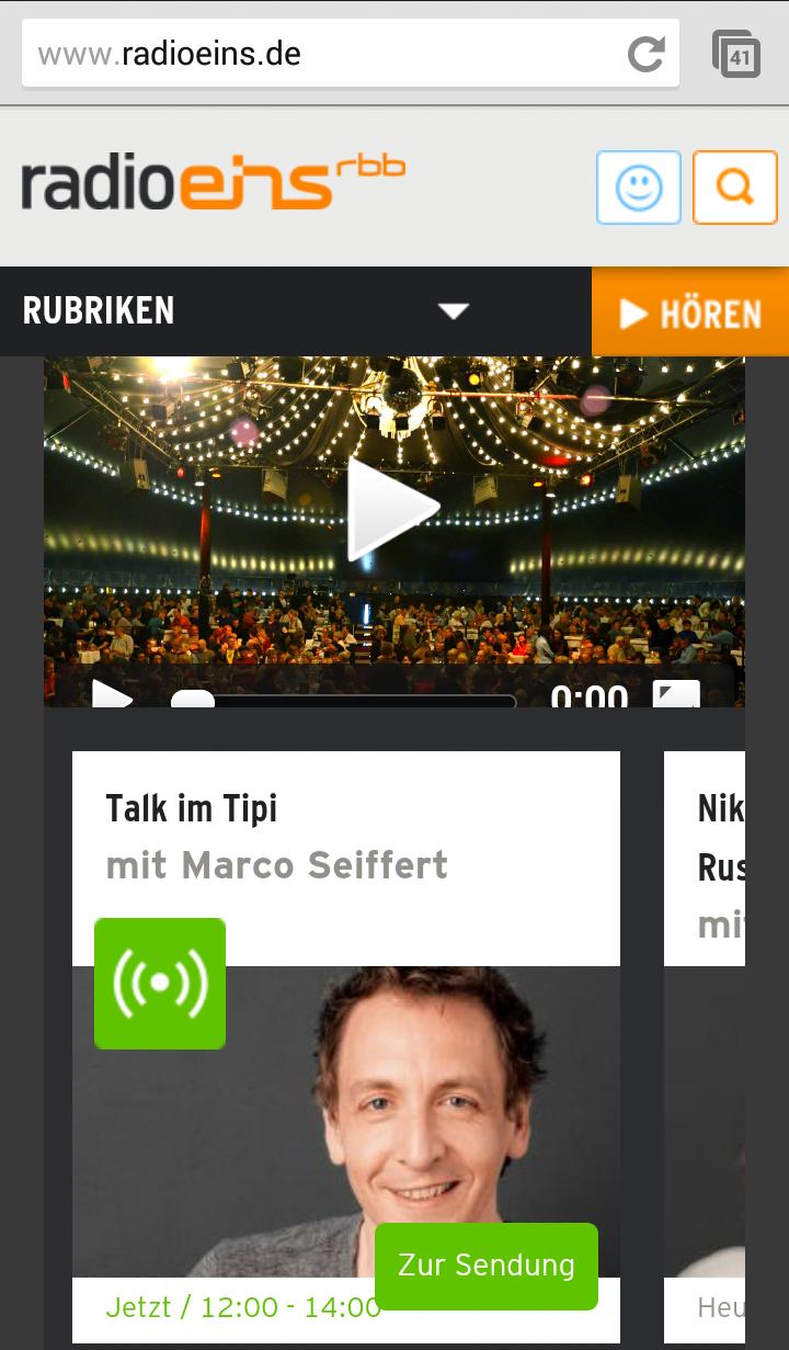 Screenshot der mobilen Website des RBB-Radiosender Radio Eins