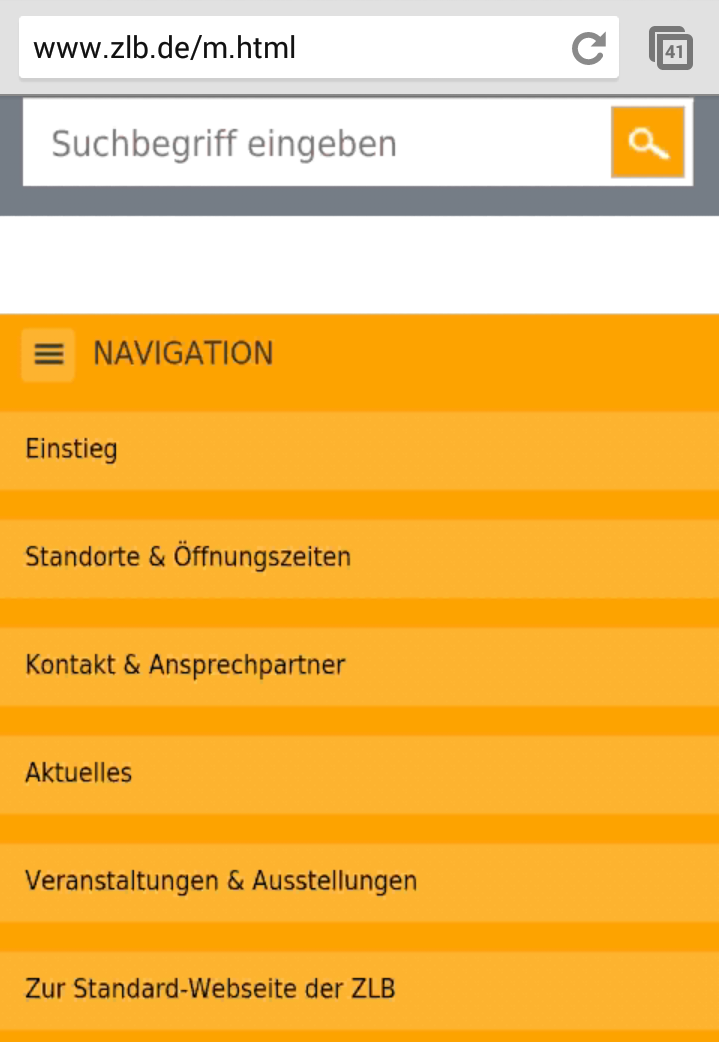 Screenshot mobile Website Zentral- und Landesbibliothek Berlin