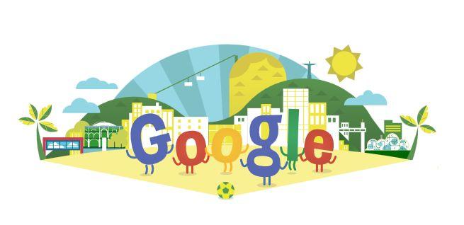 Das Google Doodle zum 1. Tag der Fifa-Fußball-WM 2014.