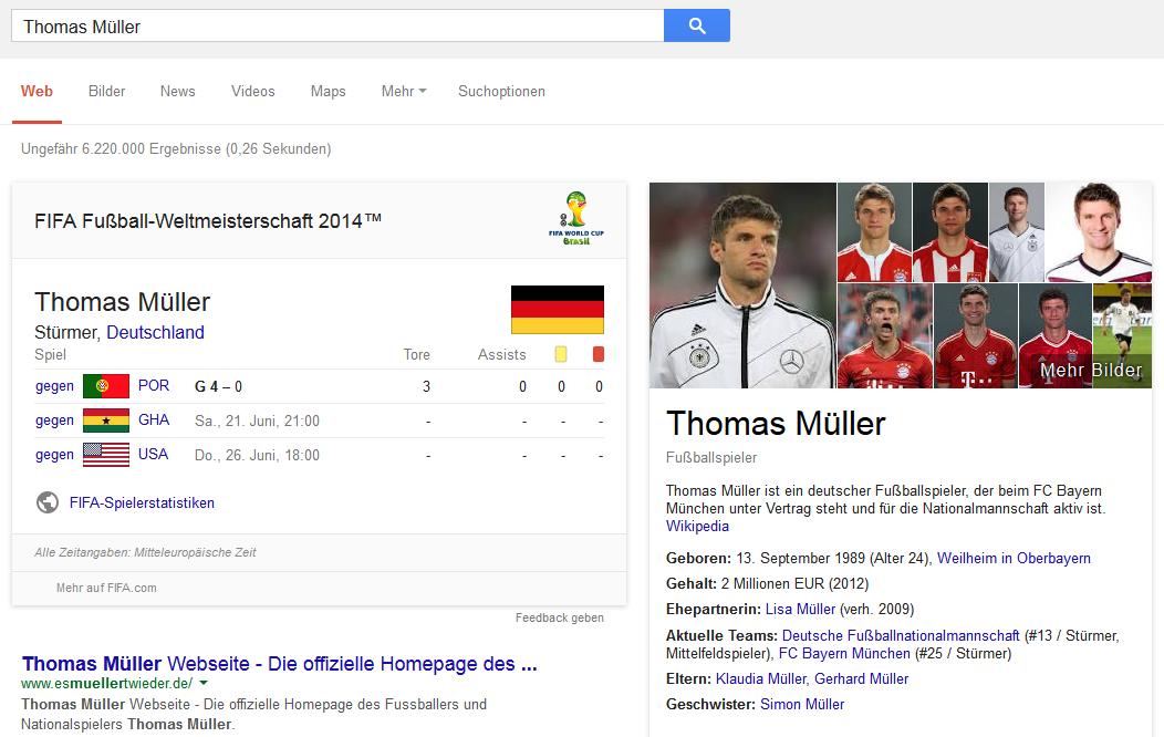 Google-Suche zum Nationalspieler Thomas Müller