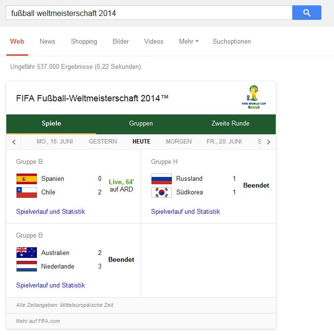 Die Google Suche zum Standard-Fußball-WM-Doodle