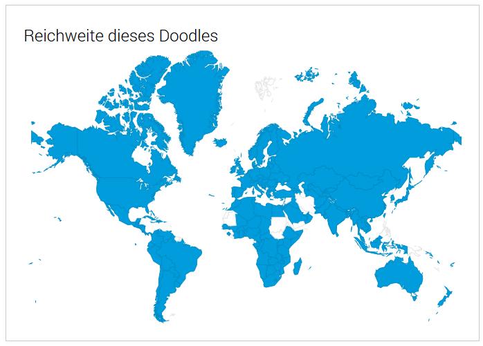 Die Reichweite des WM-Doodles vom 12.6. war fast weltweit
