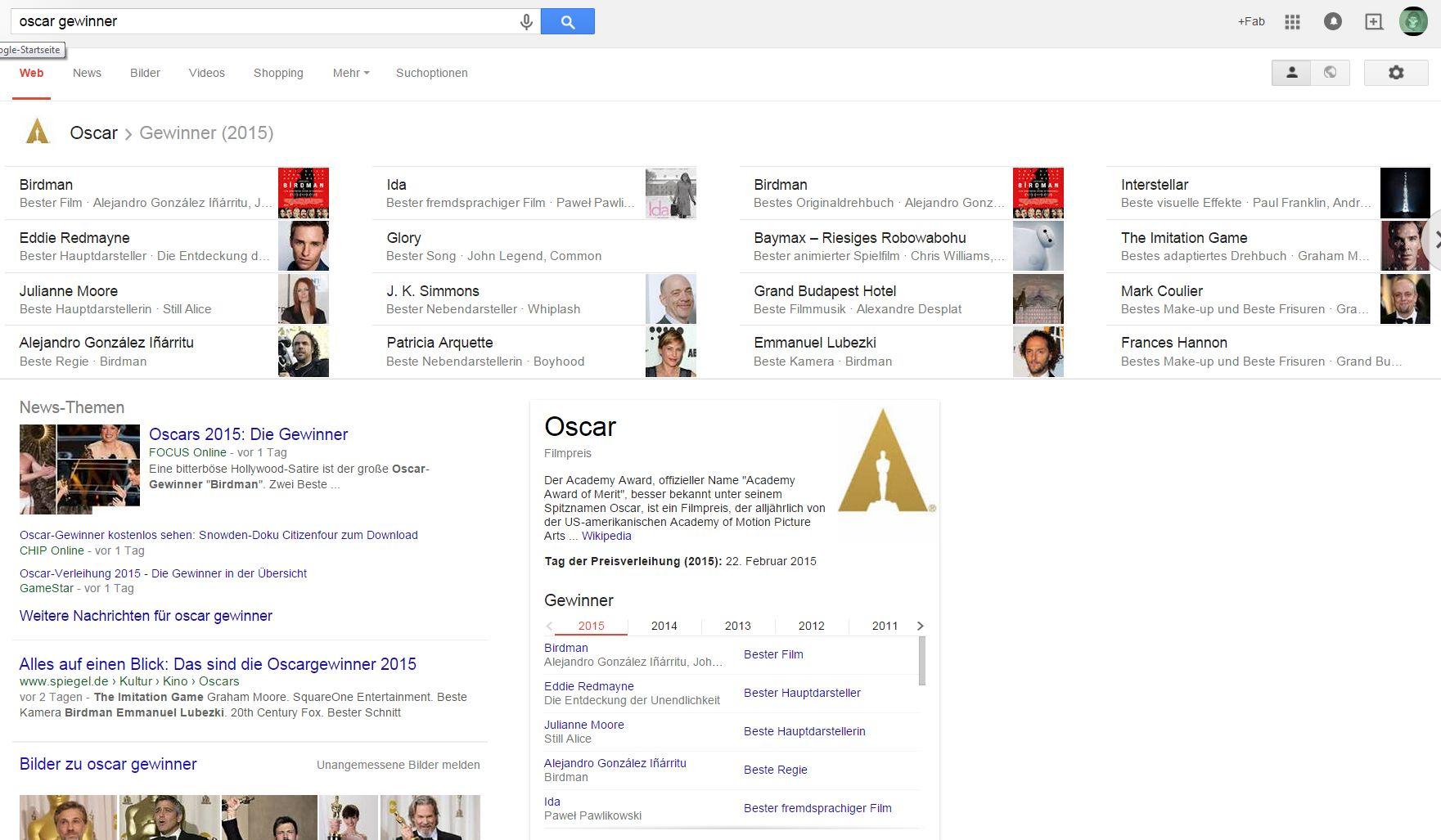 """Screenshot zur Google-Suchanfrage zu """"Oscar Gewinner"""" nach der Verleihung der Oscars 2015"""