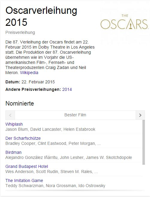 Google Screenshot Oscar Knowledge Graph im Chrome Browser